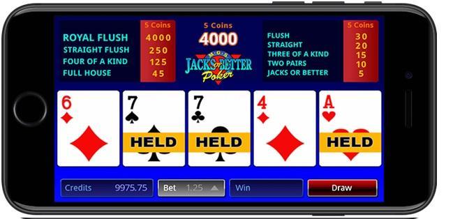 Royal Vegas app- Video poker