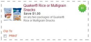 $1/2 Quaker Rice or Multigrain Snacks Coupons