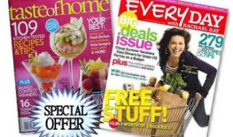 Both Everyday With Rachael Ray and Taste of Home for as low as $6.00 – New or Renewal