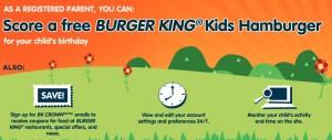 Free Burger King Kids Hamburger