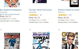 Today's Deal:  Magazine Subscriptions starting at $4!