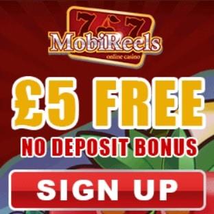 Mobireels Casino   £5 NDB plus 50 free spins & 350% bonus