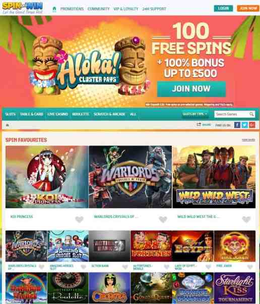 Spin and Win - 200 free spins & £1,000 bonus - UK Casino Games