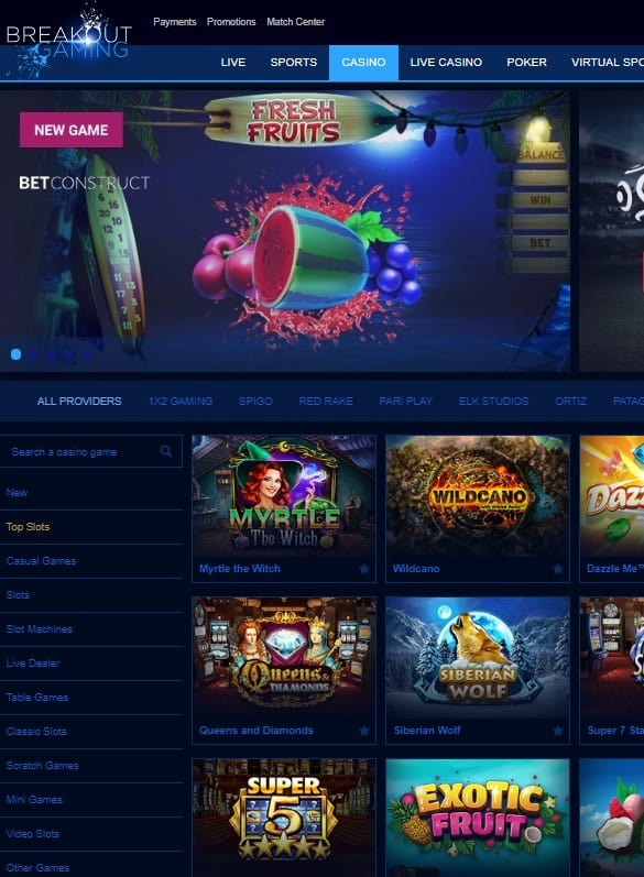 Breakout Gaming Casino Online & Mobile