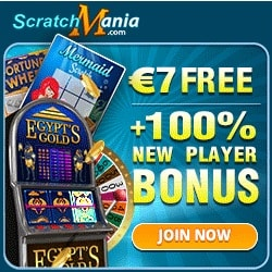 ScratchMania Casino   7€ no deposit + 100% up to €200 free bonus