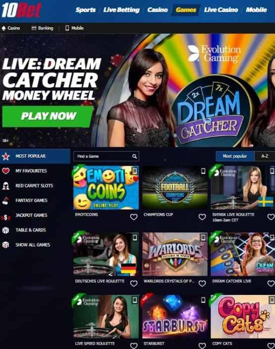 10Bet Casino Free Spins Bonus