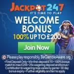 Jackpot247 Casino 100% up to £200 bonus – no code required!