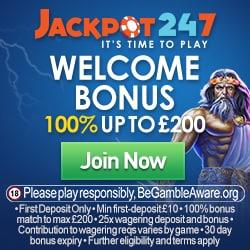 Jackpot247 Casino 100% up to £200 bonus - no code required!