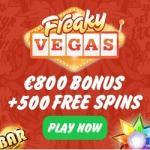 FreakyVegas Casino – 500 free spins & 200% up to €800 bonus