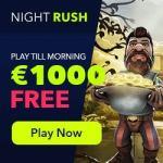 NightRush Casino €5 free spins + 150% up to €1000 match bonus