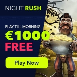 NightRush Casino €5 free spins and 150% up to €1000 match bonus