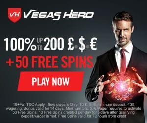 Vegas Hero Casino - 50 free spins & 225% up to €1,000 free bonus