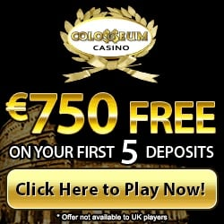 Colosseum Casino 200 free spins + $/€750 in free bonus chips