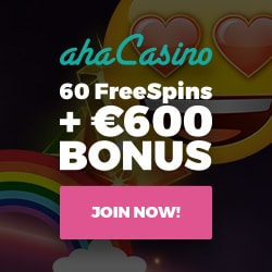 Aha Casino 100 free spins and 100% up to €/£/$300 freebonus