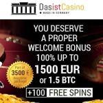 Das Ist Casino 250 free spins + 3.5 bitcoins or €1500 free bonus