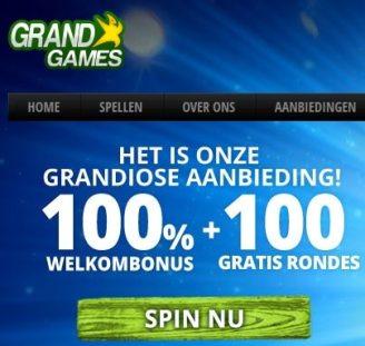 Grand Games Casino (Belgium) 100 free spins + €200 gratis bonus