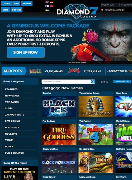 Diamond7 Casino free spins bonus