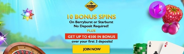 GdayCasino free spins no deposit bonus