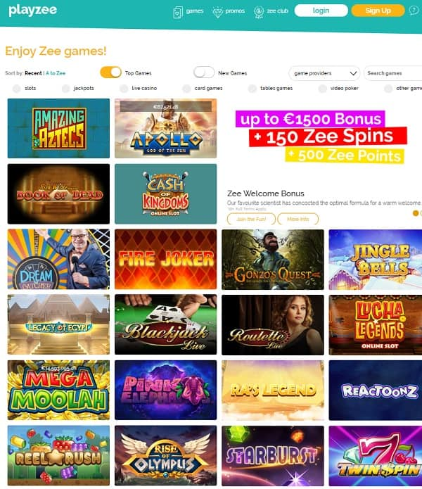 Playzee Casino sign up for free and get free bonus