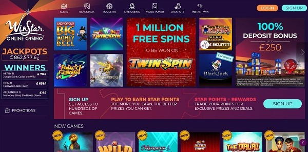 Winstar Casino games and software