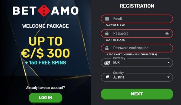 Welcome Bonus at Bet Amo Casino