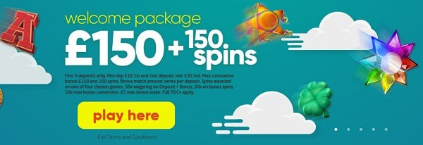 150 GBP + 150 Free Spins up for grabs!