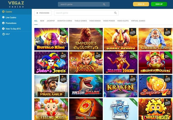 Vegaz Casino Crypto Gaming - new casino online review