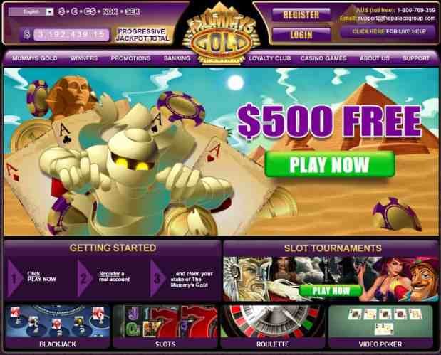 Mummys Gold Casino $500 free bonus - review