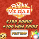 Freaky Vegas Casino 112 free spins and €100 gratis bonus