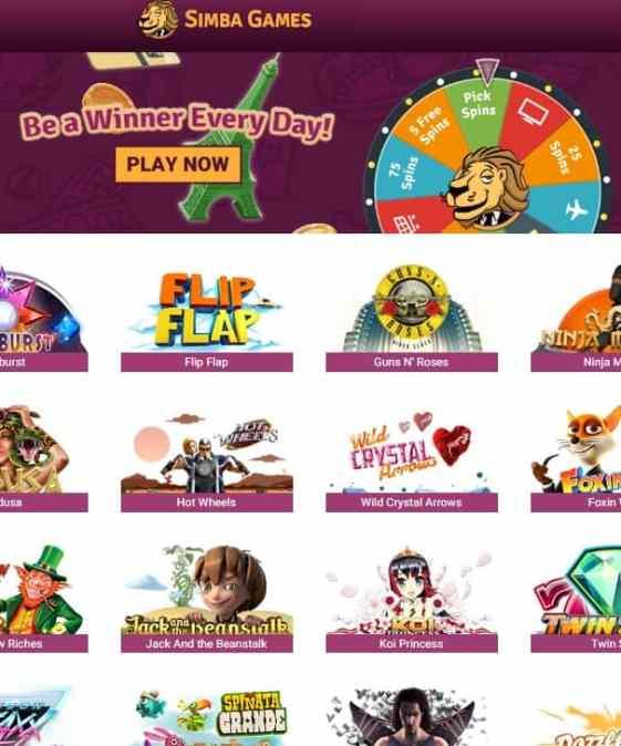 simba games online casino