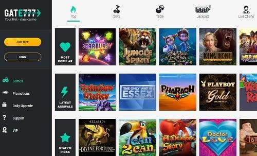Gate777.com Casino $1000 bonus and 200 free spins
