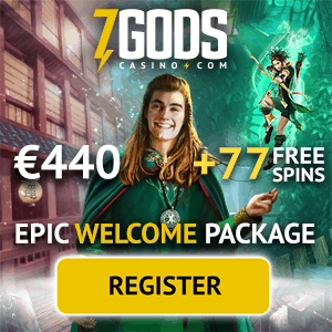 7 Gods Casino™ 77 free spins + $440 free chips welcome bonus