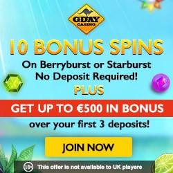 Gday Casino €500 free bonus & 60 free spins - unlimited cashouts!
