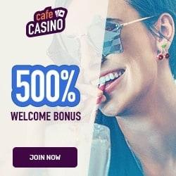 Cafe Casino 500% up to $5000 free cash bonus - USA welcome!