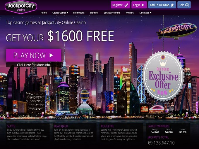 JackpotCity Casino welcome bonus and free spins