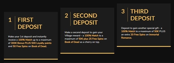 3 deposit bonuses for new players