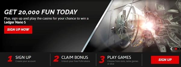 CasinoFair 20000 FUN bonus