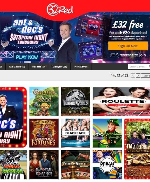32red casino $10 no deposit bonus and free spins - UK