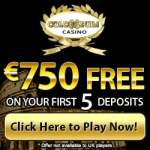 Colosseum Casino 100 free spins and $750 free play bonus