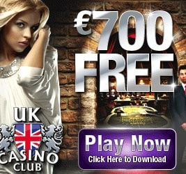 UK Casino Club - 100 free spins and €700 free play bonus
