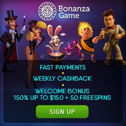 Bonanza Game Casino 100 free spins   250% up to $750 free bonus