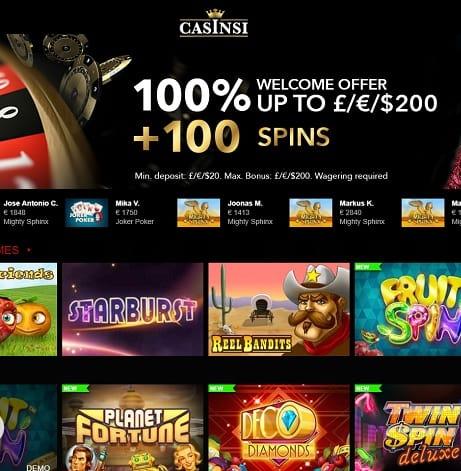 Casinsi Casino free bonus chips