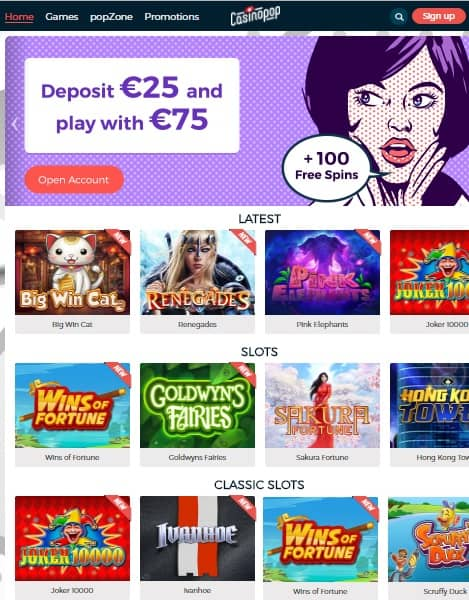 Casino Pop free spins bonus