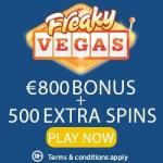 Freaky Vegas Casino 525 free spins + 200% up to €800 free bonus