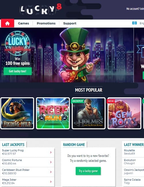 Lucky 8 Casino free spins bonus