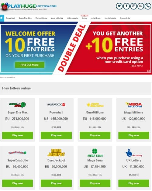 Play Huge Lottos - Powerball, Eurojackpot, Keno, Scratchcards