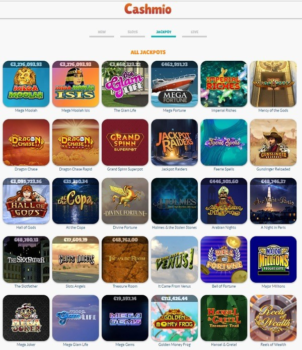 Cashmio Casino Games and Free Spins Bonuses