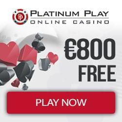 Platinum Play Casino 100 free spins + 300% up to €800 free bonus