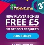 mFortune Casino (mfortune.co.uk) – £5 free bonus for mobile games