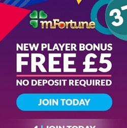 mFortune Casino (mfortune.co.uk) - £5 free bonus for mobile games